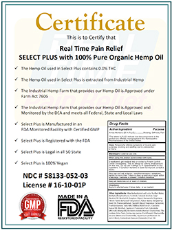 Certification of Select Plus with Hemp Oil