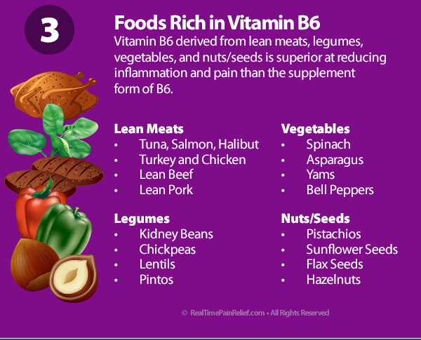 Foods rich in vitamin b6 will help reduce arthritis pain.